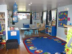 Blue downstairs toddler room